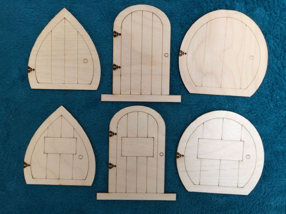Laser Cut Wooden Fairy Elf Hobbit Doors 6 Kinds Assorted